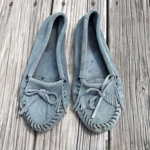 Minnetonka Suede Slip Ons Loafers Size 8.5